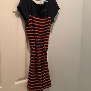 Merona blue/orange striped dress with belt XS/TP